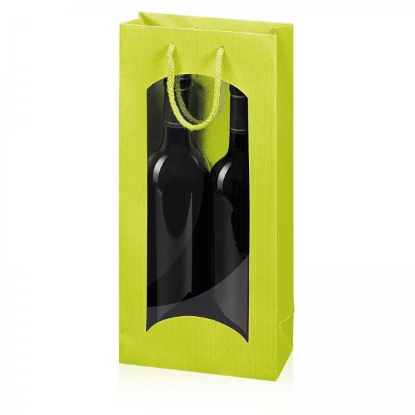 """Papiertragetasche """"Linea"""" Limette mit Fenster 2er"""