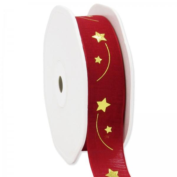 """Geschenkband """" Sternenschweif"""" Rot/Gold, 22mm x 15m"""