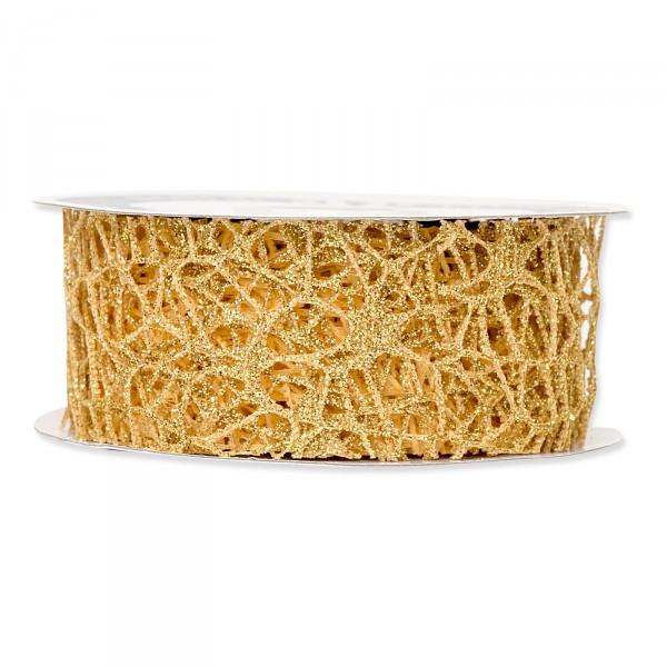 """Geschenkband """"Gitter"""" Gold, 40mm x 10m"""
