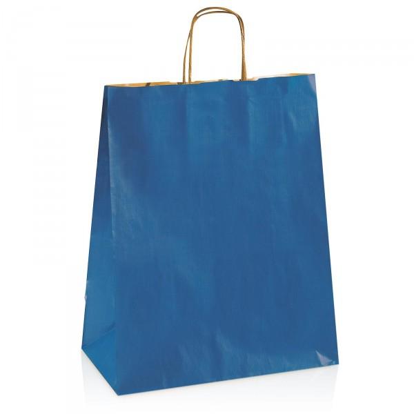 Einkaufstasche aus Kraftpapier Blau -groß-