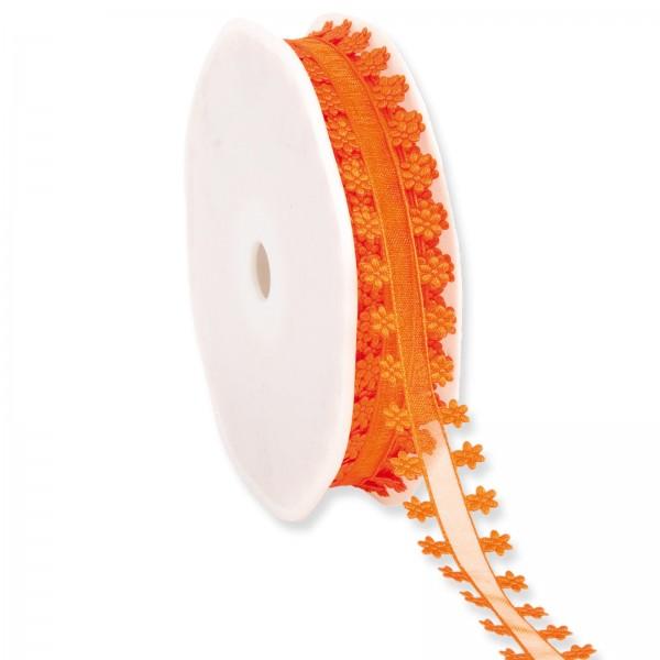"""Geschenkband Organza """"Blütenrand"""" Orange 18mm x 20m"""