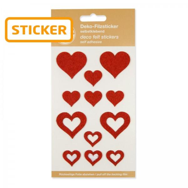 "Filz-Sticker ""Herzen"" rot, sortiert, 2,2 / 3,5cm"