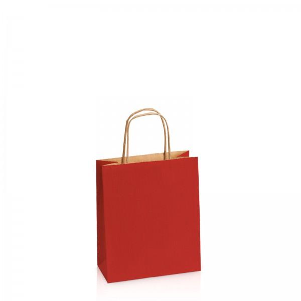 Einkaufstasche aus Kraftpapier Dunkelrot gerippt -S-