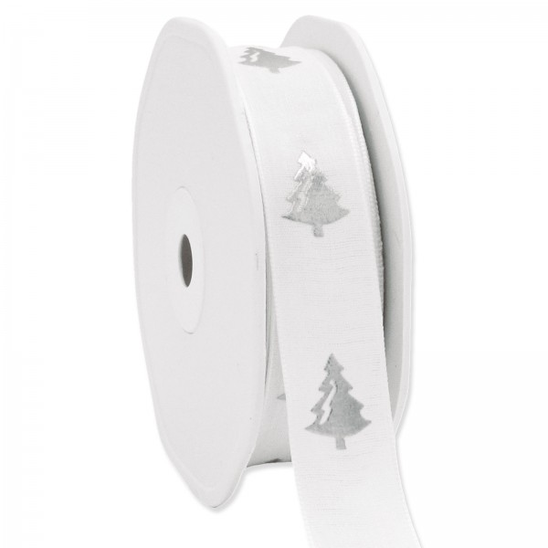 "Geschenkband ""Baum"" Weiß/Silber, 22mm x 15m"