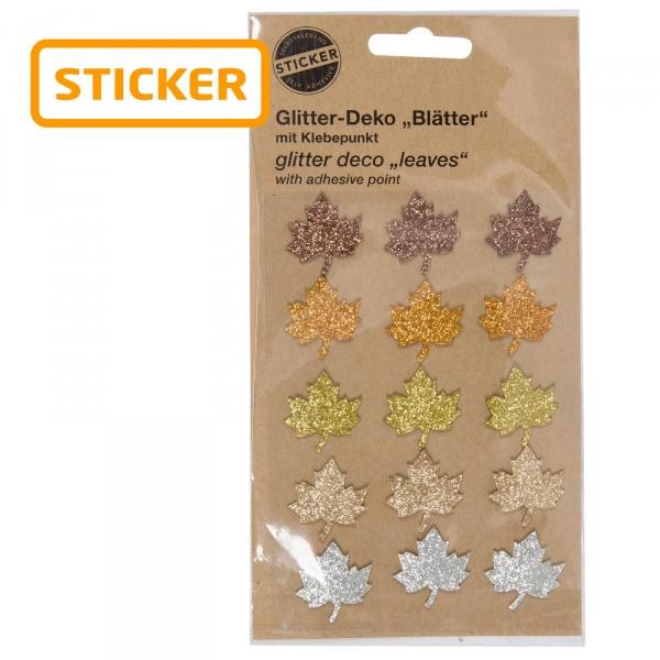 """Glitter-Sticker """"Blätter"""" -sortiert- 15 Stück pro Karte"""