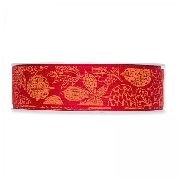 """Geschenkband """"Blätter"""" Rot/Orange, 25mm x 18m"""