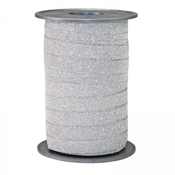 "Ringelband ""Glitter"" Silber 10mm x 100m"