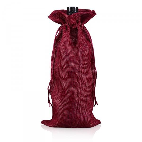 Jute-Flaschenbeutel Rot, 35cm x 14cm