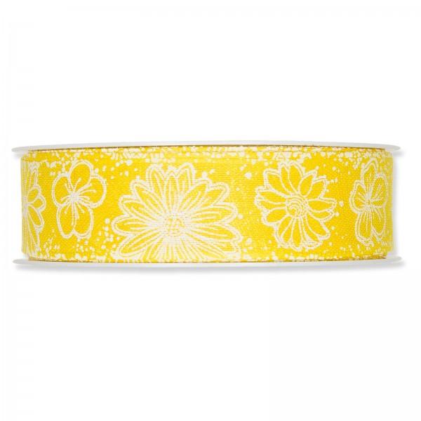 """Geschenkband """"Blumen"""" Gelb/Weiß, 25mm x 18m"""