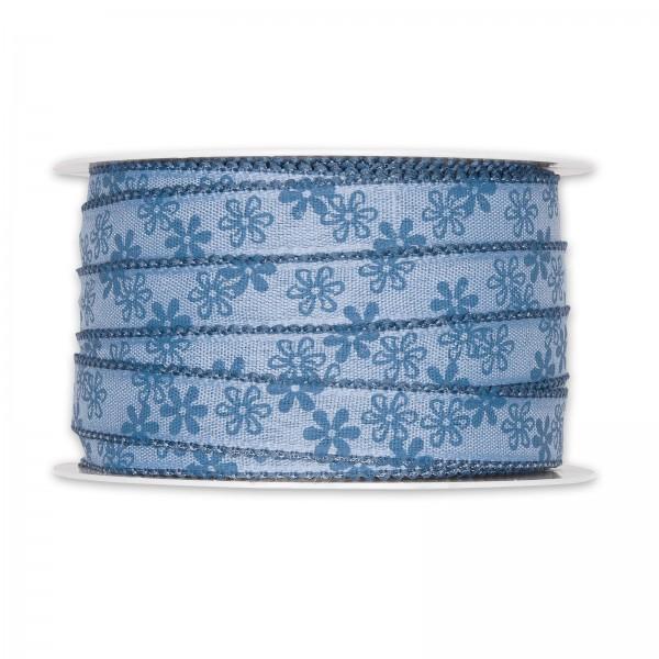 """Geschenkband """"Blümchen"""" Blau, 15mm x 25m"""