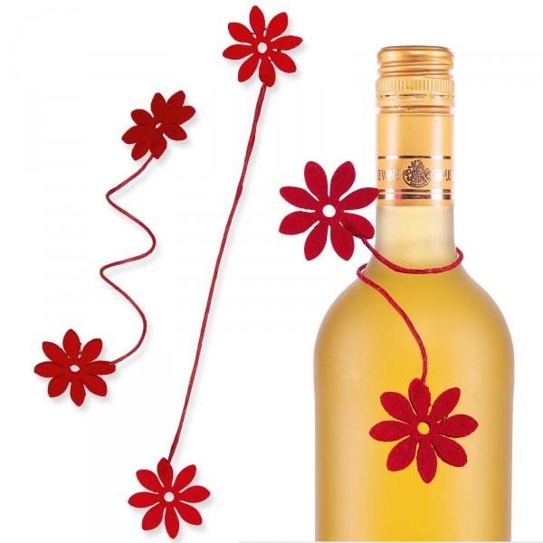 """Drahtverschluss """"Filz-Blüten"""", 4cm x 18cm, Rot"""