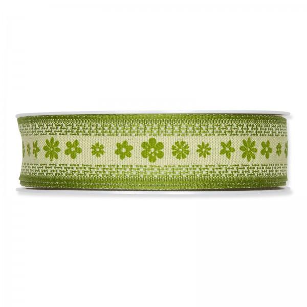 """Geschenkband Druck """"Blüten"""" Grün 25mm x 15m"""