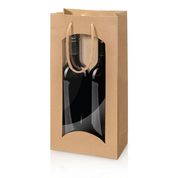 Tragetasche Kraftpapier Natura mit Fenster 2er