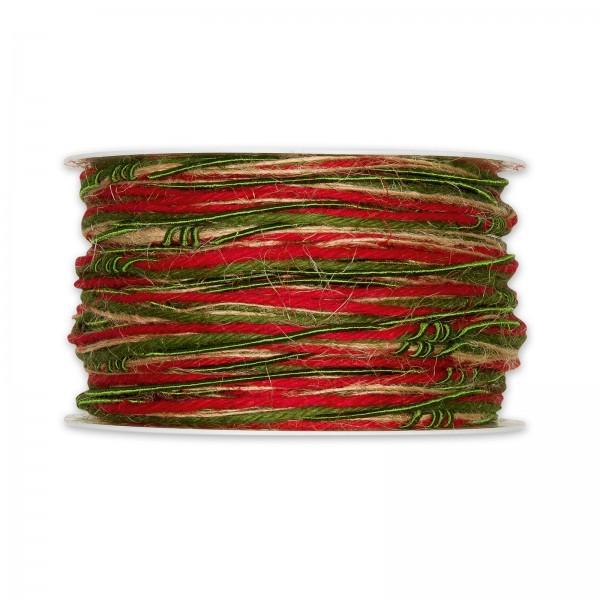 Materialmix-Kordel Rot/Grün/Natur, 5mm x 18m
