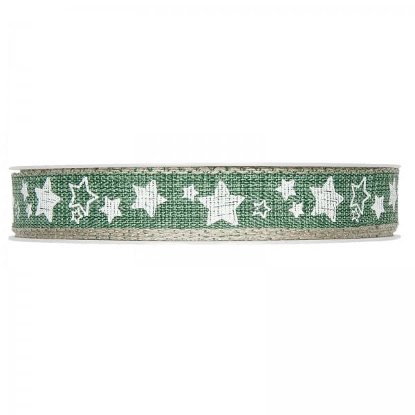 """Geschenkband """"Sternchen"""" mit Leinenkante, Grün/Weiß 15mm x 15m"""