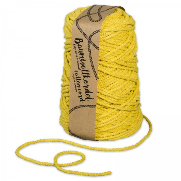Baumwollkordel Gelb, Ø 5mm x 80m