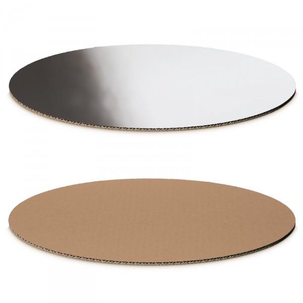 """""""Dekoplatte Silber-Metallic/Natur"""" -M- oval"""