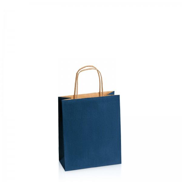 Einkaufstasche aus Kraftpapier Dunkelblau gerippt -S-