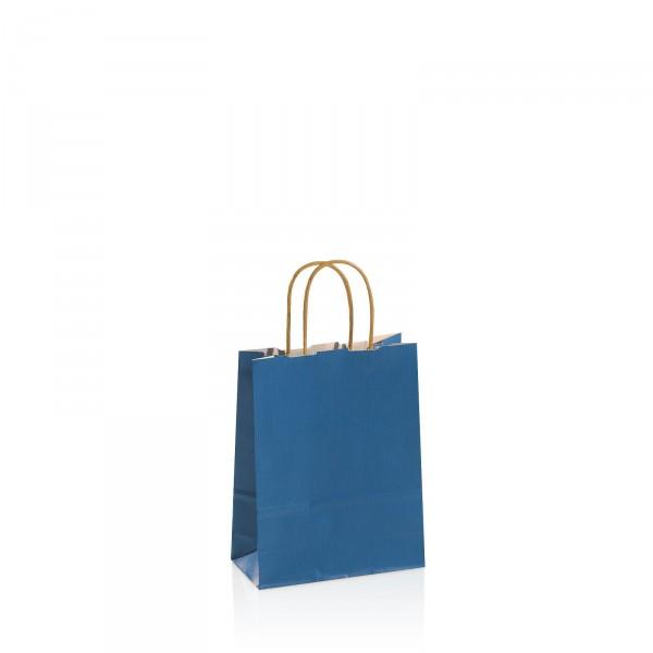Einkaufstasche aus Kraftpapier Blau -klein-