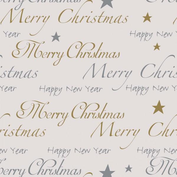 "Geschenkpapier ""Christmas"" Creme/Silber/Gold"