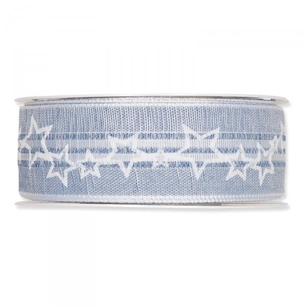 """Geschenkband """"Stars"""" Blau/Weiß 35mm x 15m"""