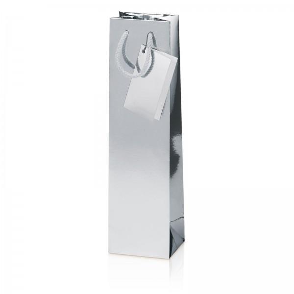Tragetasche Metallic-Silber Hochglanz 1er