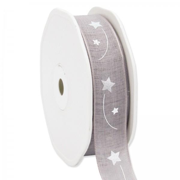 "Geschenkband "" Sternenschweif"" Grau/Silber, 22mm x 15m"
