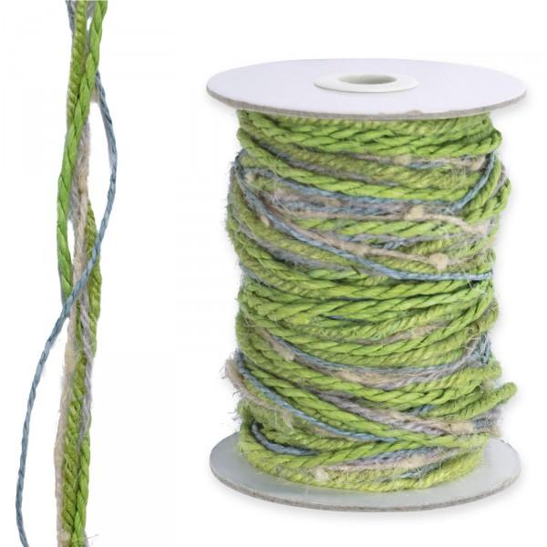 Kordel-Mix, 5-fädig, Grün-Natur,15m