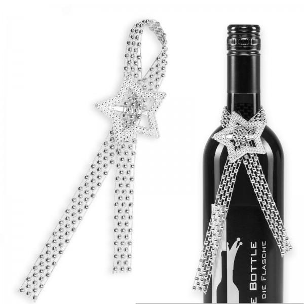 Flaschenhänger mit Kügelchen und Stern Ø 5cm, Länge ca.18cm
