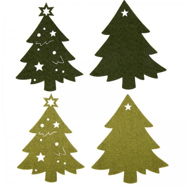 "Filzsortiment ""Weihnachtsbäume"", 4 Stück im Set"