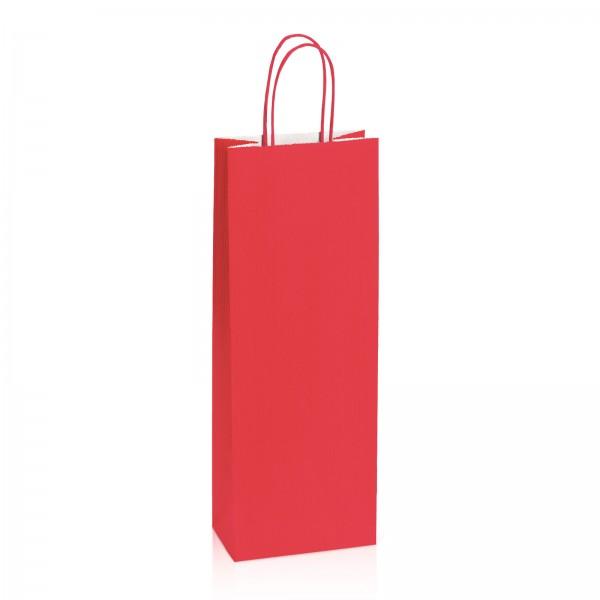 Einkaufstasche aus Kraftpapier Rot gerippt -Bottle-