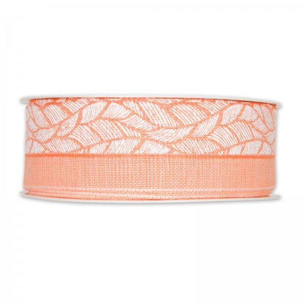 """Geschenkband """"Federn"""", Apricot/Weiß, 40mm x 20m"""