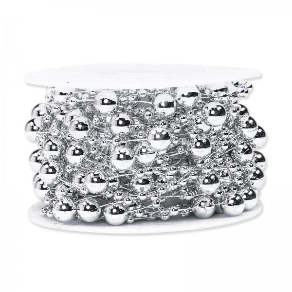 Perlenschnur Silber Metallic, ø 8mm x 10m
