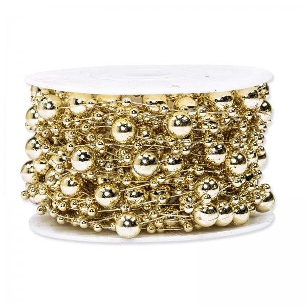 Perlenschnur Gold Metallic, ø 8mm x 10m