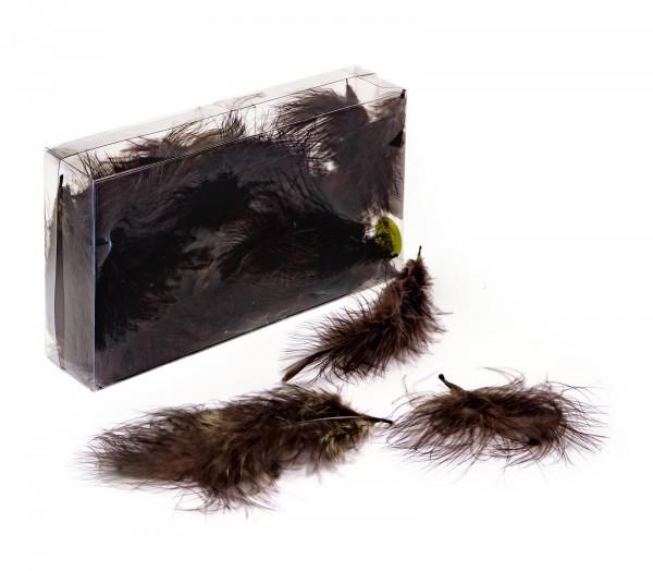 Marabufedern lose, 8g/Box (ca. 50 Stück), Braun