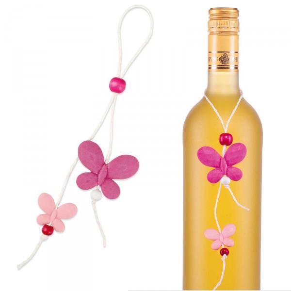 "Anhänger ""Farfalle"",Rosa/Pink, 4,5 x 3cm, Länge 24cm"