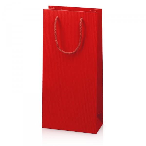 """Papiertragetasche """"Linea"""" Rot mit Streifenprägung 2er"""