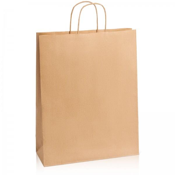 Einkaufstasche aus Kraftpapier Natur gerippt -XL-