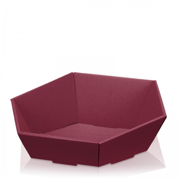 "Präsentkorb 6-eckig ""Modern Bordeaux"" -groß-"