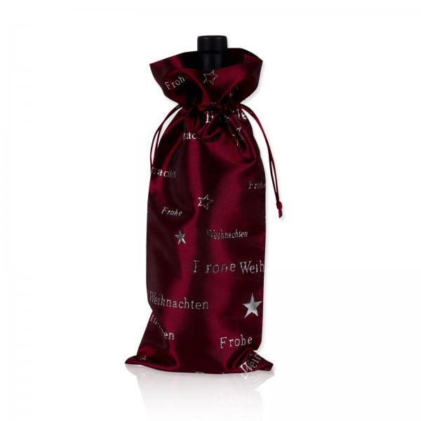 """Flaschenbeutel Satin """"Frohe Weihnachten"""" Bordeaux-Silber"""