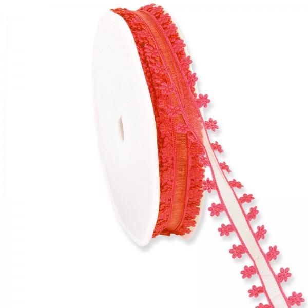 """Geschenkband Organza """"Blütenrand"""" Rot 18mm x 20m"""