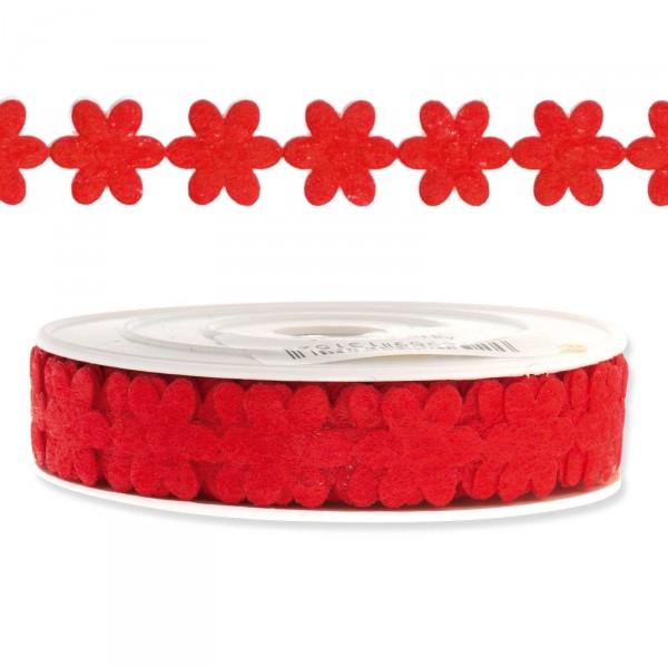 """Geschenkband """"Blütengirlande"""", 18mm x 9,14m, Rot"""