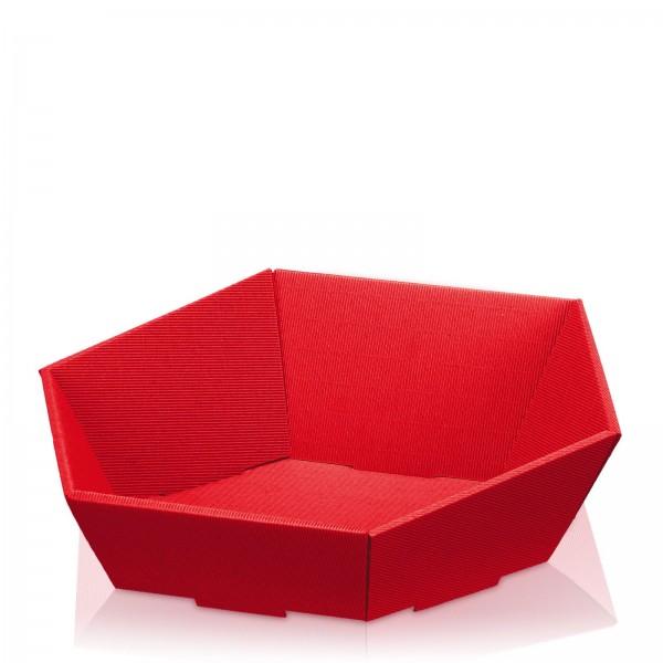 Präsentkorb 6-eckig Modern Rot -groß-