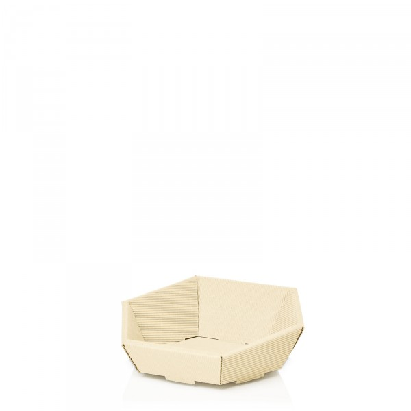 Präsentkorb 6-eckig Modern Creme -mini-
