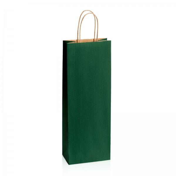Einkaufstasche aus Kraftpapier Dunkelgrün gerippt -Bottle-