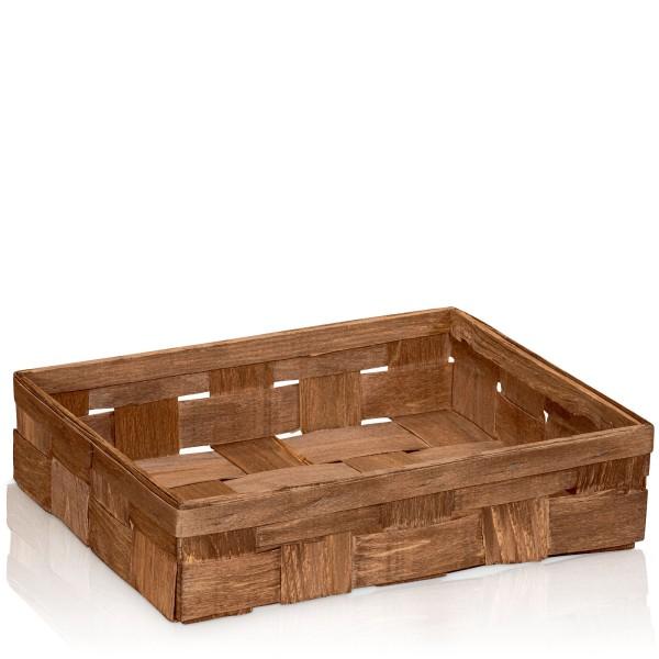 Holzspankorb Braun 3er Wein/Sekt