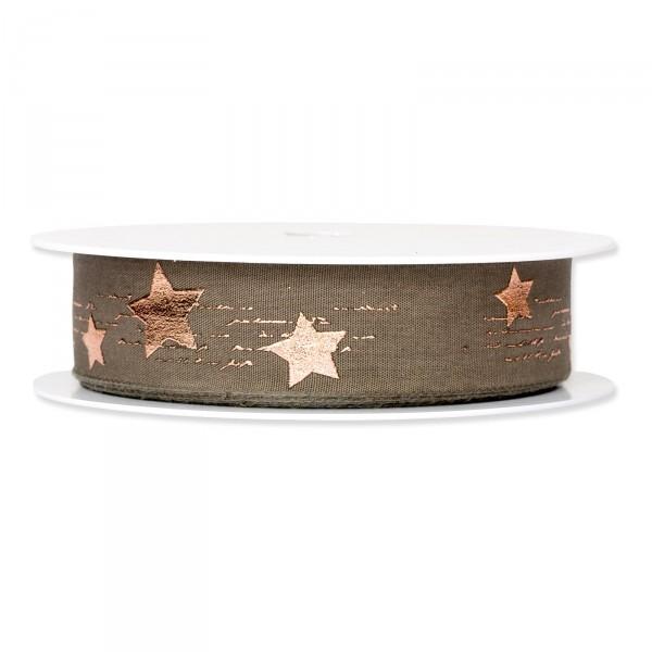 """Geschenkband """"Metallic Star"""" Braun/Roségold, 25mm x 20m"""