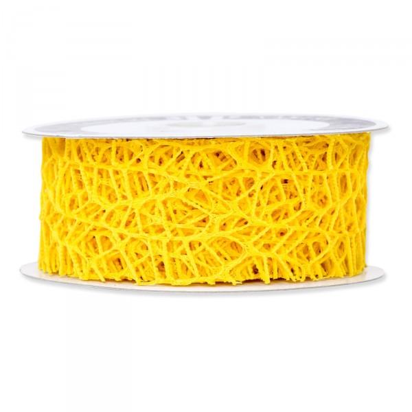 """Geschenkband """"Gitter"""" Gelb, 40mm x 10m"""