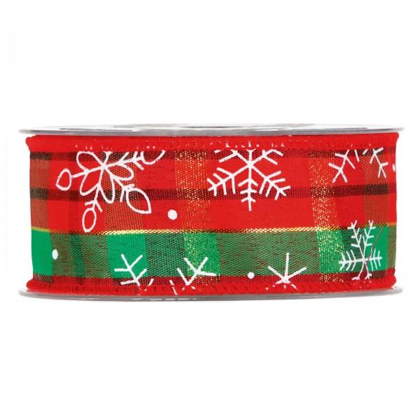 """Geschenkband """"Karo Weihnachten"""" Grün/Rot 40mm x 10m"""