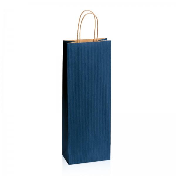 Einkaufstasche aus Kraftpapier Dunkelblau gerippt -Bottle-